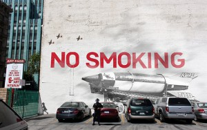 No Smoking Graffiti on Wall