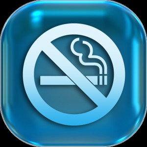 Blue 3D no-smoking sign